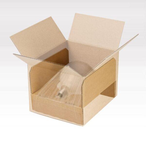 Ambalaj dintr-o singura bucata cu decupaj cu suspensie si retentie pentru produse fragile de diferite forme