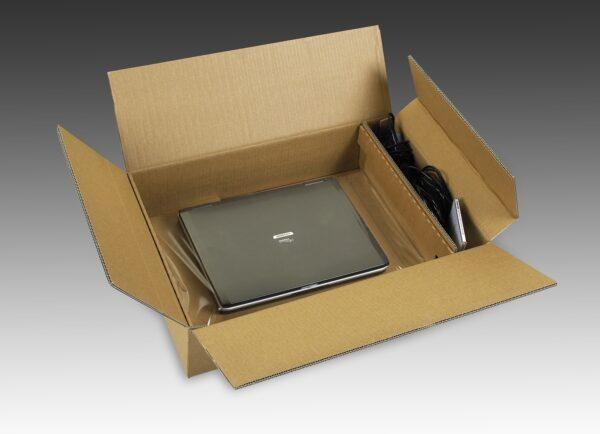 Ambalaj protector cu folie de suspensie si retentie pentru laptop