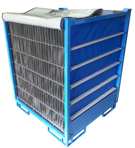 Container metalic cu separatoare textile pentru protectia maxima a produselor sensibile la zgarieturi