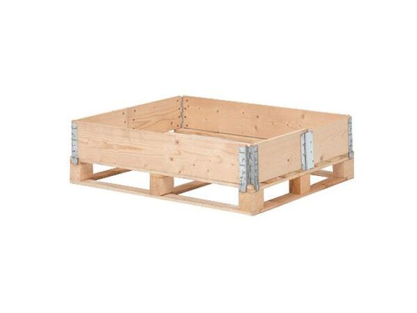 Container pliabil din lemn cu 1 rama de stivuire si pliere pe latura scurta