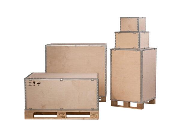 Container pliabil din lemn cu pereti inchisi si capac