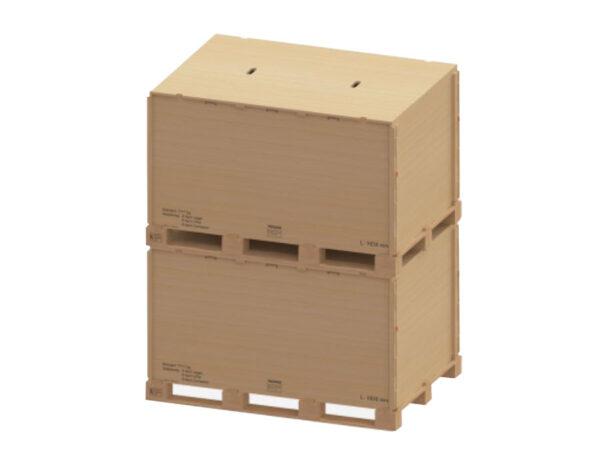 Container pliabil din lemn detaliu stivuire varianta cu imbinare fara cuie