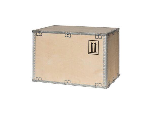 Container pliabil din lemn pentru marfuri periculoase capac atasat, rame metalice
