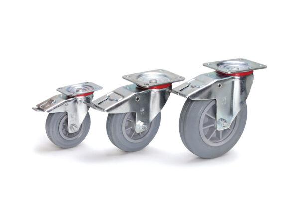 Roti pivotante de cauciuc cu sistem de franare