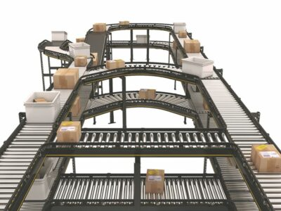 Roller conveyors for boxes