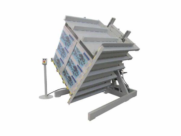 Stationary pallet inverters with mobile platform