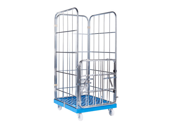 Roll cage container half door and plastic bottom