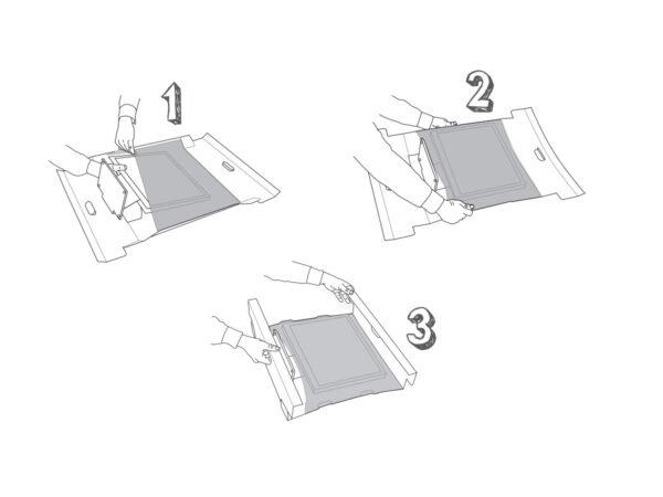 Ambalaj cu folie de retentie sau suspensie pentru monitoare LCD sau TFT - metoda