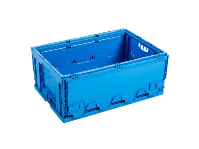 Foldable plastic box with lid attached