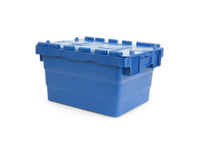Stackable nestable plastic container with lid
