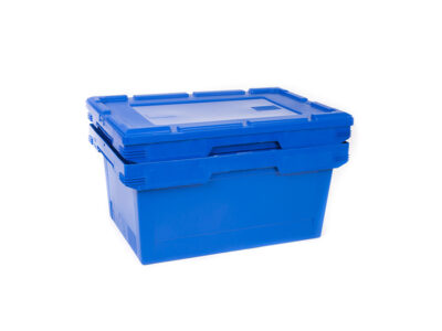 Stackable nestable plastic container with removable lid
