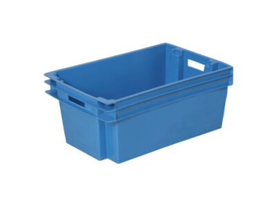 Stackable nestable plastic containers at 180°