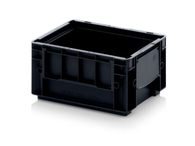 Stackable plastic containers VDA ESD RL-KLT