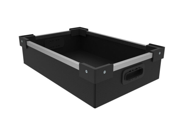 Akylux box with aluminum frame and stacking corners