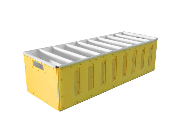 Akylux box with corrugated plastic separators laminated with textile