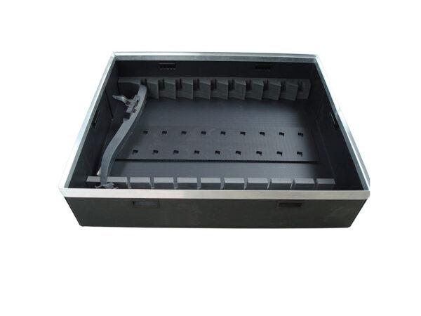 Alveoplast box with aluminum h frame and foam internal separators