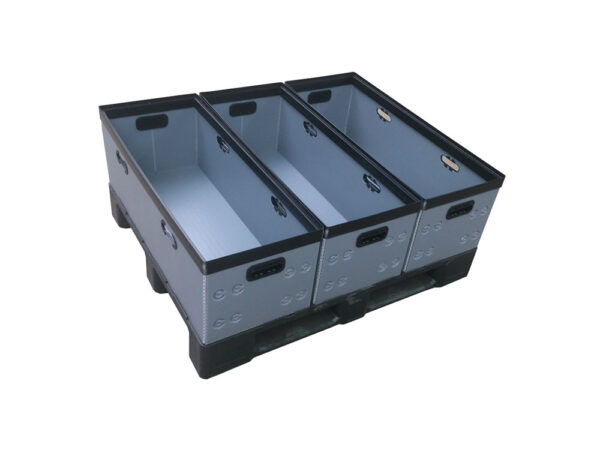 Corrugated plastic box, plastic h frame – palletizing example