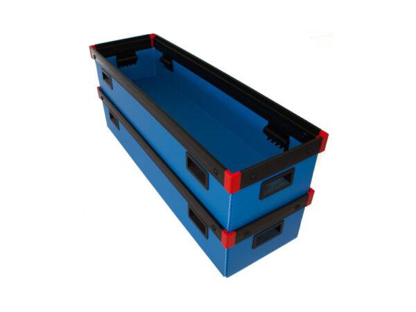 Corrugated plastic box with h plastic frame
