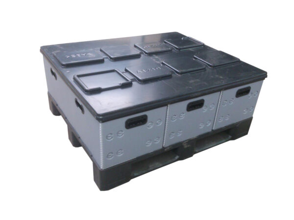 Corrugated polypropylene box, h plastic frame, placement example on pallet+ lid system