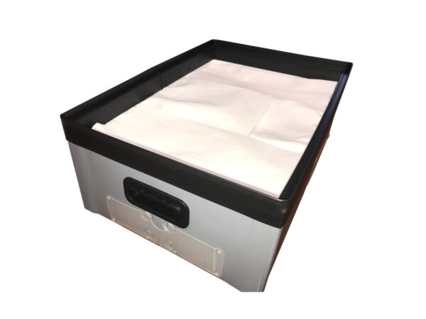 Corrugated polypropylene box with plastic h frame and label holders