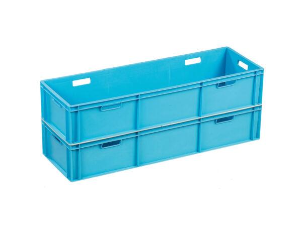 Mirror welding stackable container with open handles
