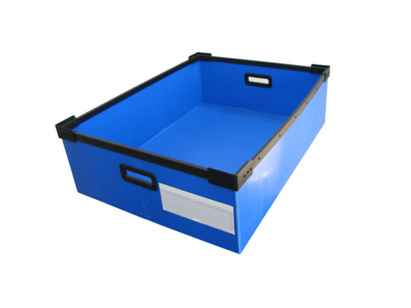 The box frame can be welded with ultrasounds and label holders can be applied with permanent adhesive