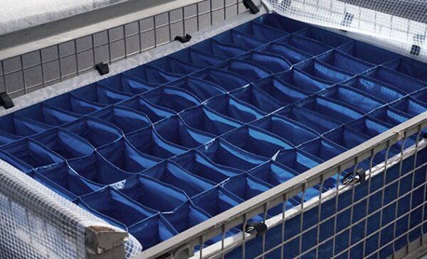 Separatoare textile pentru boxpaleţi, aprovizionate vertical
